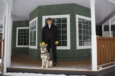 Ark, Jamthund Male, with handler and owner Merv Carlson